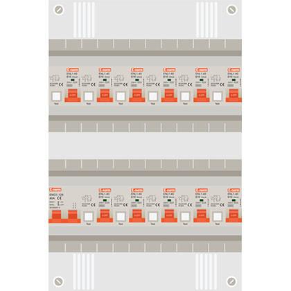 1 fase groepenkast met 11 aardlekautomaten
