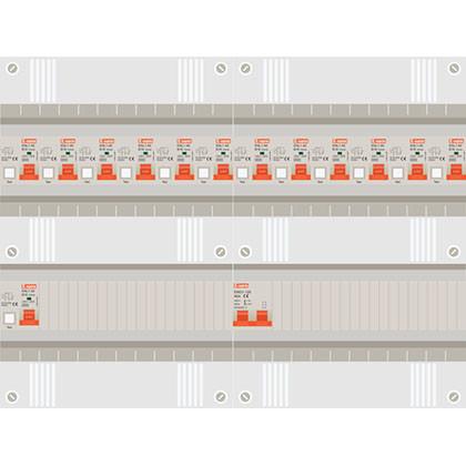 1 fase groepenkast met 13 aardlekautomaten
