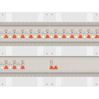 1 fase groepenkast met 15 aardlekautomaten