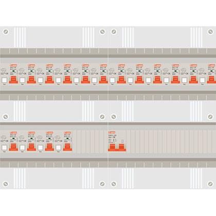 1 fase groepenkast met 16 aardlekautomaten