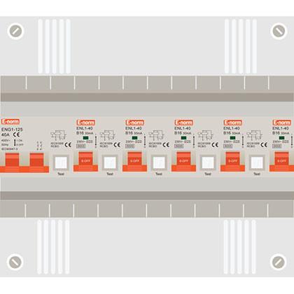 1 fase groepenkast met 5 aardlekautomaten