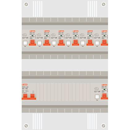 1 fase groepenkast met 7 aardlekautomaten