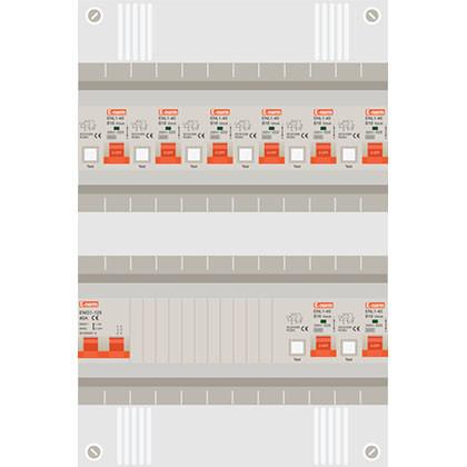 1 fase groepenkast met 8 aardlekautomaten