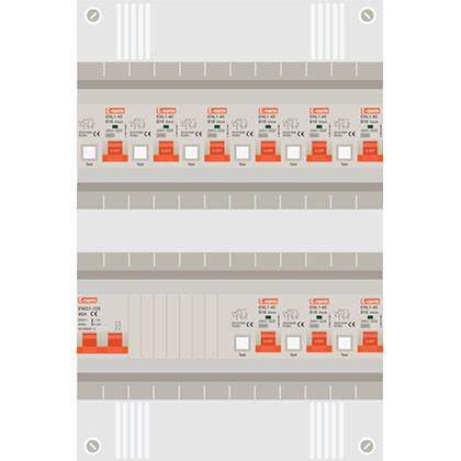 1 fase groepenkast met 9 aardlekautomaten