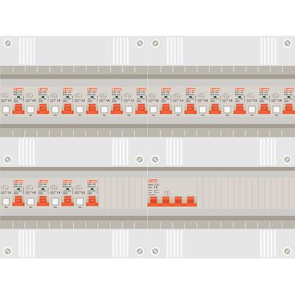 3 fase groepenkast met 16 aardlekautomaten