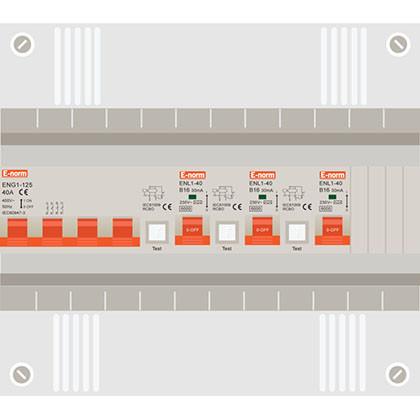 3 fase groepenkast met 3 aardlekautomaten
