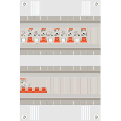 3 fase groepenkast met 5 aardlekautomaten