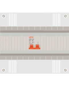 Hoofdschakelaar 2p 63a in 12 modulen kast met buisinvoer
