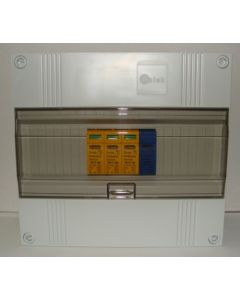 Overspanningsbeveiliging 3p+n in 12 modulen kast met buisinvoer
