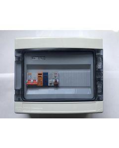 1 fase groepenkast met 1 aardlekautomaat 16A-B + overspaninningsbeveiliging