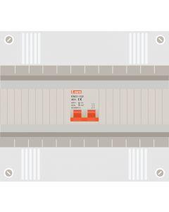 Hoofdschakelaar 2p 40a in 12 modulen kast met buisinvoer