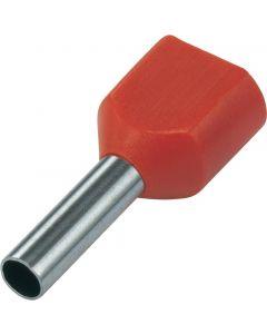 Rood 2x10mm2 lengte 14mm 100 stuks