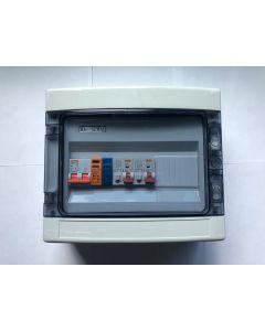 1 fase groepenkast met 2 aardlekautomaten 10A-B + overspaninningsbeveiliging
